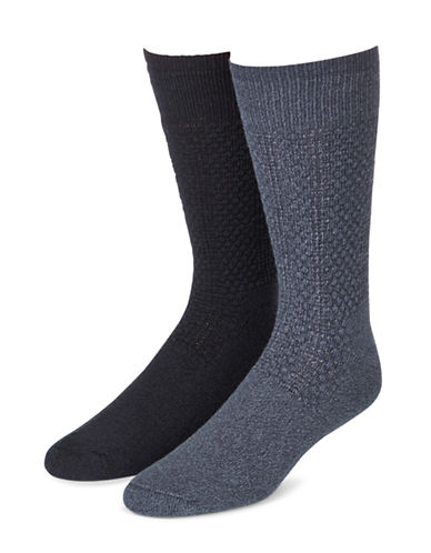 Mcgregor Mens Two-Pack Happy Foot Crew Socks-NAVY-12-16