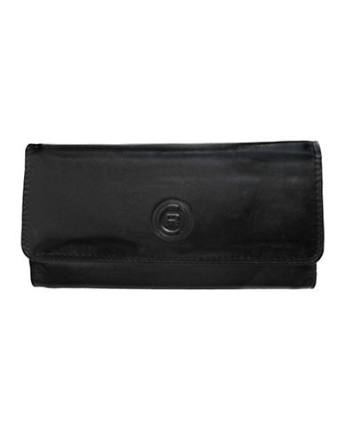 Club Rochelier Traditional Clutch With Removable Checkbook Flap-BLACK-One Size