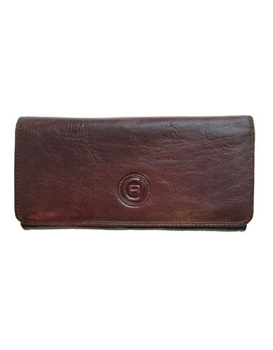 Club Rochelier Traditional Clutch With Removable Checkbook Flap-MEDIUM BROWN-One Size