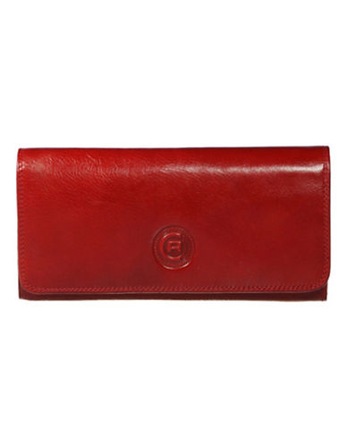 Club Rochelier Traditional Clutch With Removable Checkbook Flap-RED-One Size