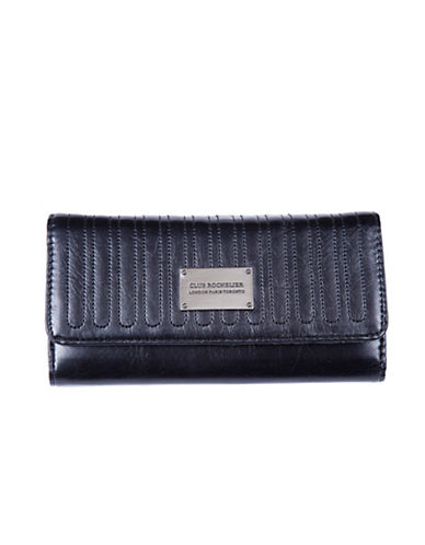 Club Rochelier Glam Clutch Wallet With Removable Checkbook Flap-BLACK-One Size