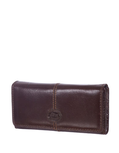 Rochelier Leather Clutch Wallet with Checkbook Gusset-BROWN-One Size