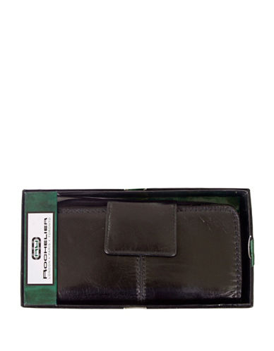 Rochelier Leather Zip-Around Clutch Wallet with Tab-BLACK-One Size