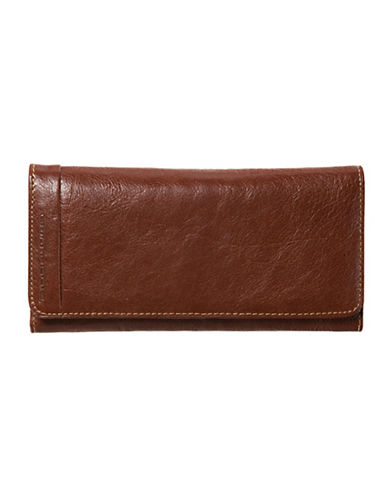 Rochelier Casablanca Collection Clutch with Removable Checkbook Flap-DARK BROWN-One Size