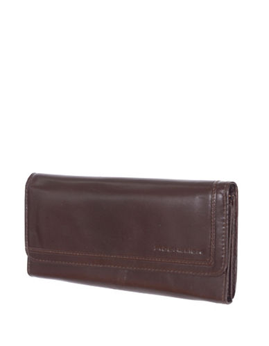 Rochelier Leather Clutch Wallet with Outside Pocket-BROWN-One Size