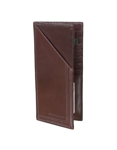 Rochelier Leather Ticket Wallet-BROWN-One Size