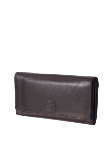 Rochelier Leather Clutch Wallet with Checkbook Gusset-BLACK-One Size