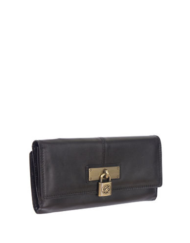 Club Rochelier Lock U Down Large Leather Clutch-BLACK-One Size