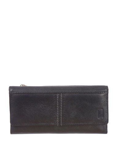 Club Rochelier Kiss and Say Goodbye Slim Leather Clutch-BLACK-One Size