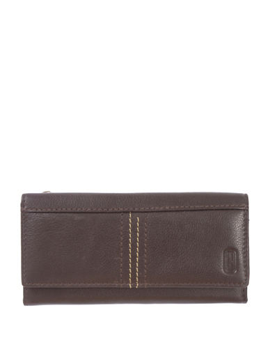 Club Rochelier Kiss and Say Goodbye Slim Leather Clutch-BROWN-One Size