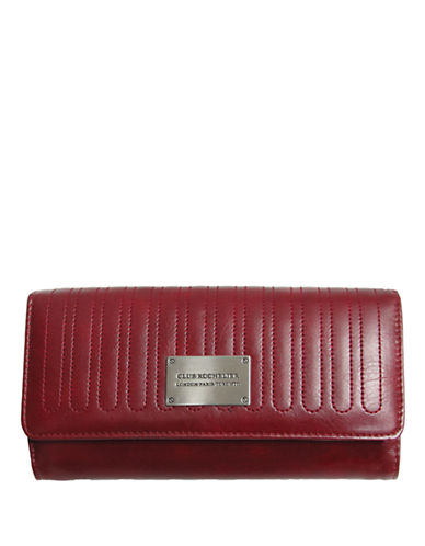 Club Rochelier Glam Clutch Wallet With Removable Checkbook Flap-RED-One Size