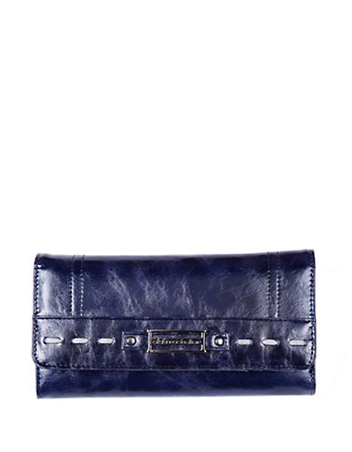 Club Rochelier Monsoon Collection Clutch With Removable Checkbook Flap-BLUE-One Size