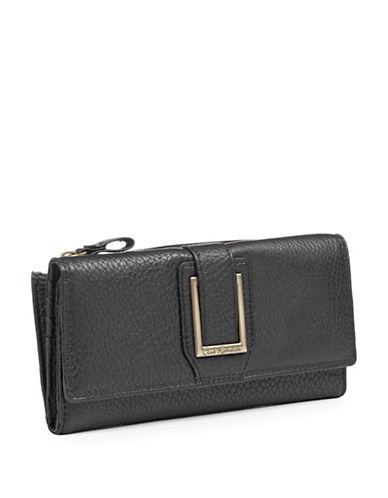 Club Rochelier Buckle Flap Clutch Wallet-BLACK-One Size