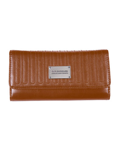 Club Rochelier Glam Clutch Wallet With Removable Checkbook Flap-COGNAC-One Size