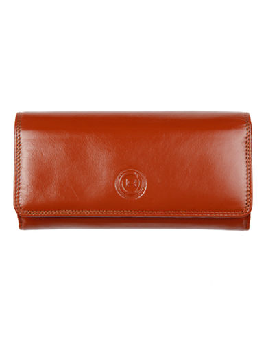 Club Rochelier Traditional Clutch With Removable Checkbook Flap-COGNAC-One Size