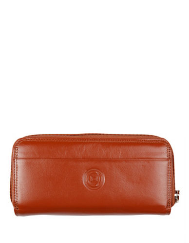 Club Rochelier Traditional Zip Around Clutch-COGNAC-One Size