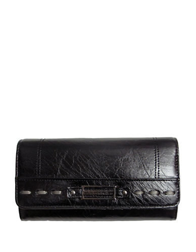 Club Rochelier Monsoon Collection Clutch With Removable Checkbook Flap-BLACK-One Size