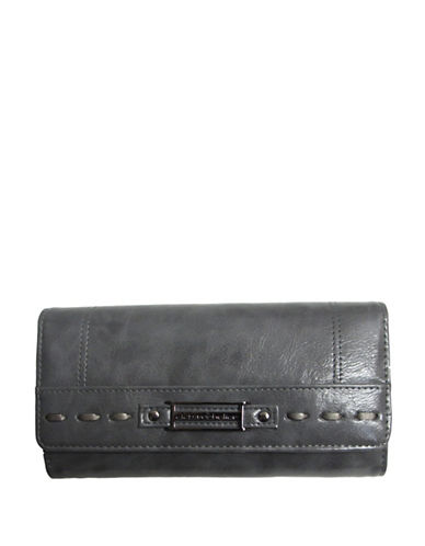 Club Rochelier Monsoon Collection Clutch With Removable Checkbook Flap-GREY-One Size