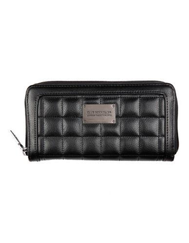 Club Rochelier Quilted Zip Around Wallet-BLACK-One Size