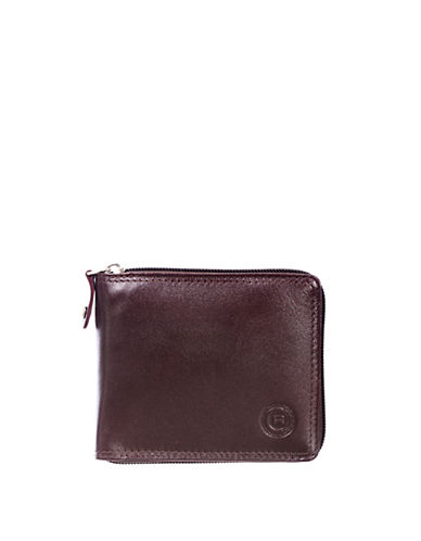 Club Rochelier Traditional Zip-Around Billfold Leather Wallet-BROWN-One Size