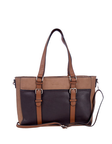 Club Rochelier Shoulder Tote with Buckle Detail-BROWN-One Size