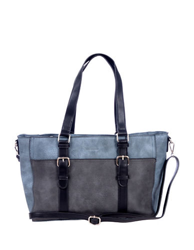 Club Rochelier Shoulder Tote with Buckle Detail-GREY-One Size