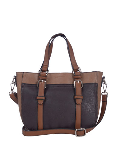 Club Rochelier Medium Crossbody with Buckle Detail-BROWN-One Size