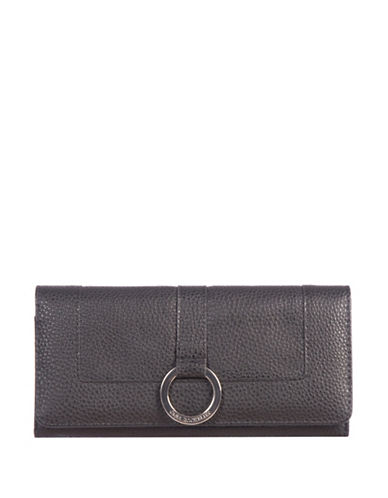 Club Rochelier Textured Continental Wallet-BLACK-One Size