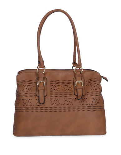Club Rochelier Textured Perf Tote-COGNAC-One Size