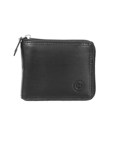 Club Rochelier Traditional Zip-Around Billfold Leather Wallet-BLACK-One Size