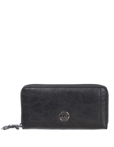 Club Rochelier Textured Zip-Around Wallet-JET BLACK-One Size