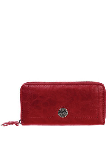 Club Rochelier Textured Zip-Around Wallet-RED-One Size
