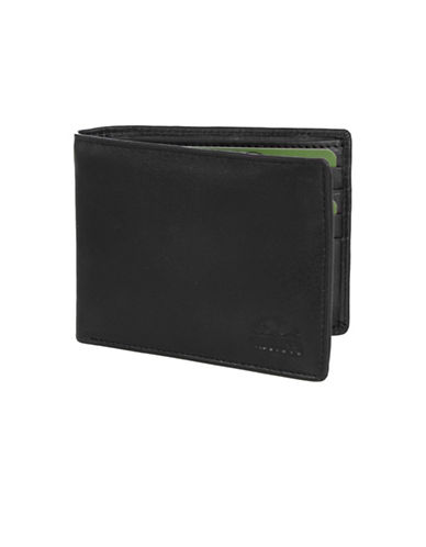 Roots 73 Slim Fold Leather Wallet-BLACK-One Size