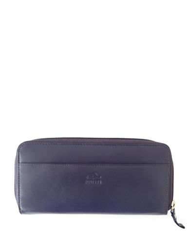 Roots 73 Silhouette Leather Zip-Around Wallet-PLUM-One Size