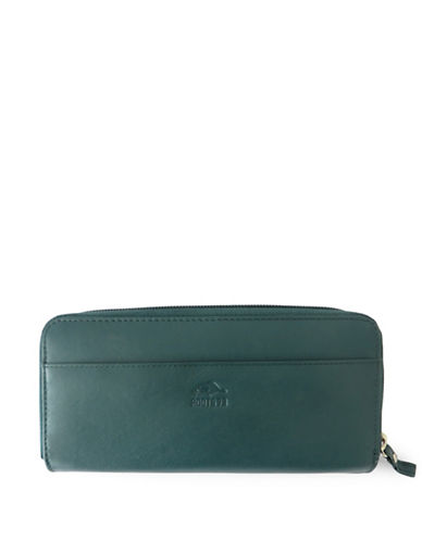 Roots 73 Silhouette Leather Zip-Around Wallet-TEAL-One Size