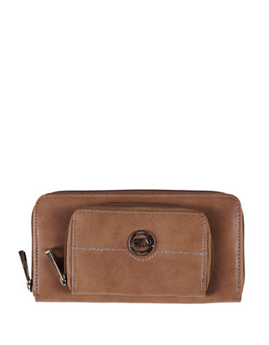 Roots 73 Earth Day Zippered Round Clutch-CAMEL-One Size
