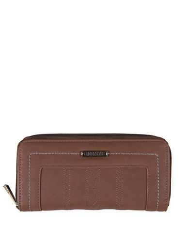 Roots 73 Journey Slim Zip Wallet-BROWN-One Size