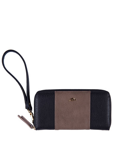 Roots 73 Zipper Round Cell Phone Wristlet-BLACK-One Size