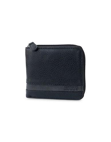 Roots 73 Zip Around Bi-Fold Wallet-BLACK-One Size