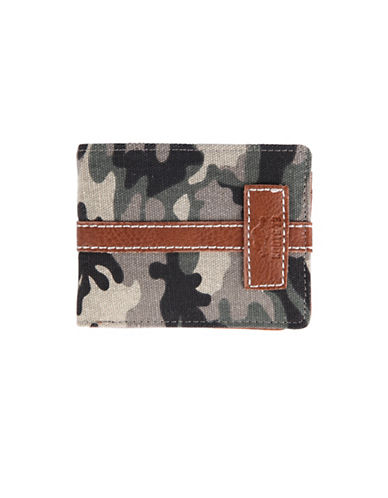 Roots Meridian Slim-Fold Wallet-CAMO GREEN-One Size
