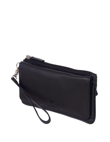 Roots 73 Lakeview Leather Wristlet Clutch-BLACK-One Size