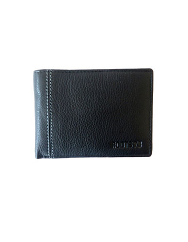 Roots David Leather Slim Wallet-BLACK-One Size