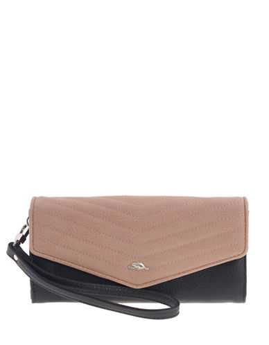 Roots 73 Arrowhead Wristlet Clutch-BROWN/BLACK-One Size