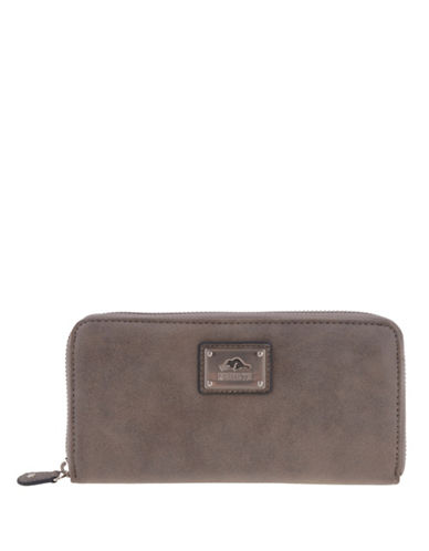 Roots 73 Tuktu Nubuck Zip-Around Wallet-BROWN-One Size
