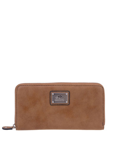 Roots 73 Tuktu Nubuck Zip-Around Wallet-BEIGE-One Size