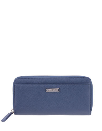 Roots 73 Graphite Saffiano Slim Zip-Around Wallet-DARK BLUE-One Size