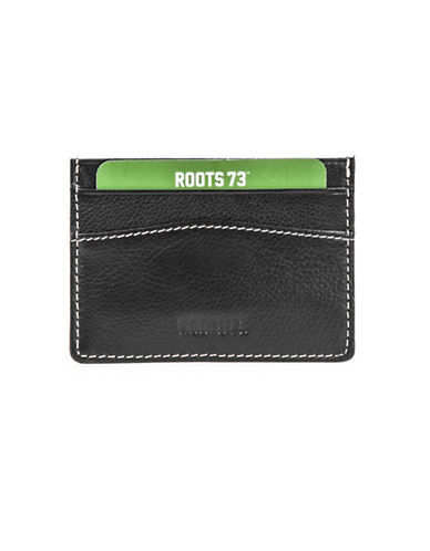 Roots 73 Leather Card Case-BLACK-One Size