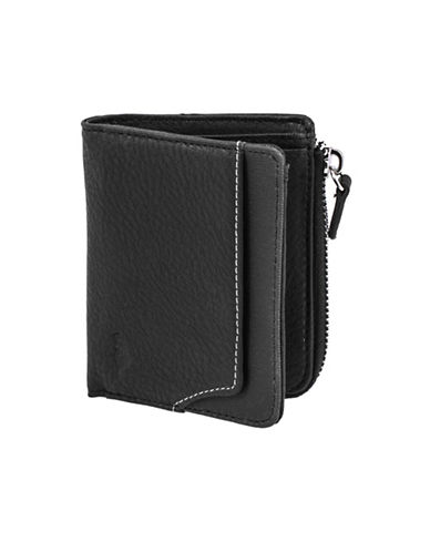 Roots 73 Slim Bi-Fold Wallet with Zipper Pocket-BLACK-One Size
