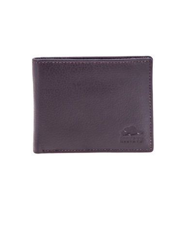 Roots Marc Leather Slim-Fold Wallet-BROWN-One Size