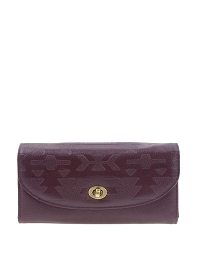 Roots 73 Talluk Embossed Clutch-DARK BERRY-One Size
